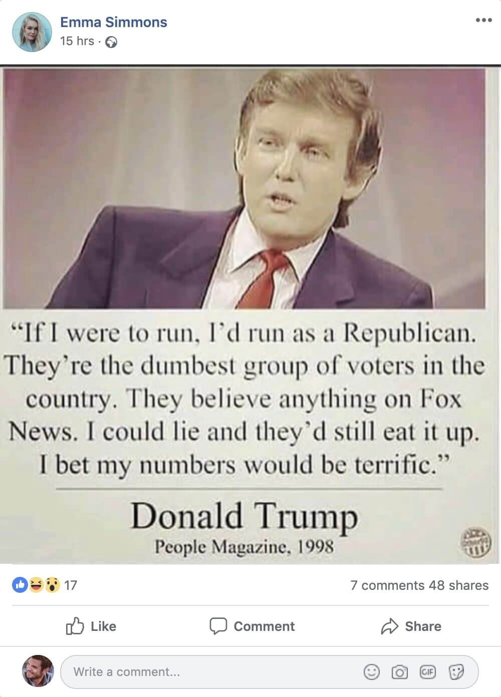 Donald Trump fake post