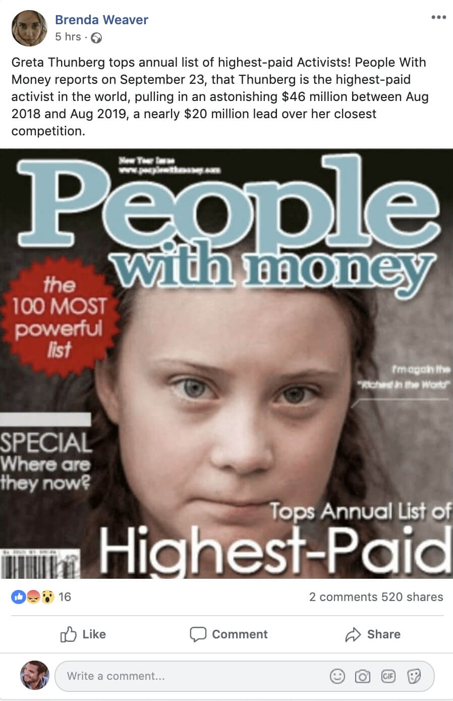 <strong>4. Greta Thunberg has made millions from her climate activism.</strong>
