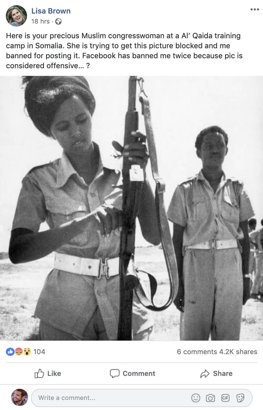 <strong>3. A photo shows Ilhan Omar in a terrorist training camp in Somalia.</strong>