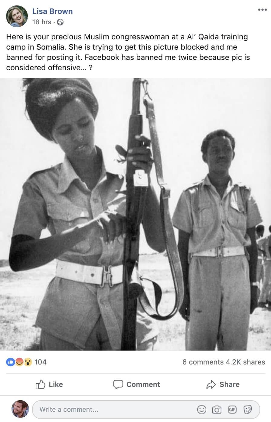 <strong>3. Foto mostra a deputada somali-americana Ilhan Omar em um campo de treinamento terrorista na Somália.</strong>