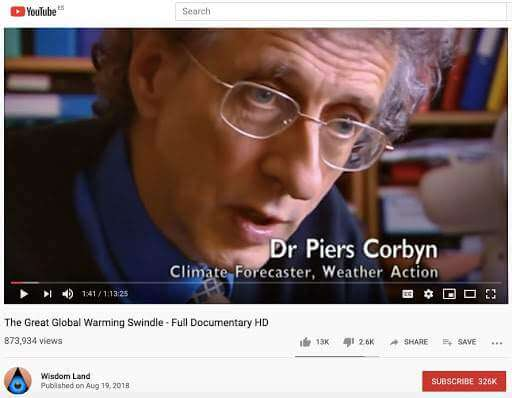 "Astrophysicist Piers Corbyn saying that: ""None of the major climate changes in the past thousand years can be explained by CO<sub>2</sub>"